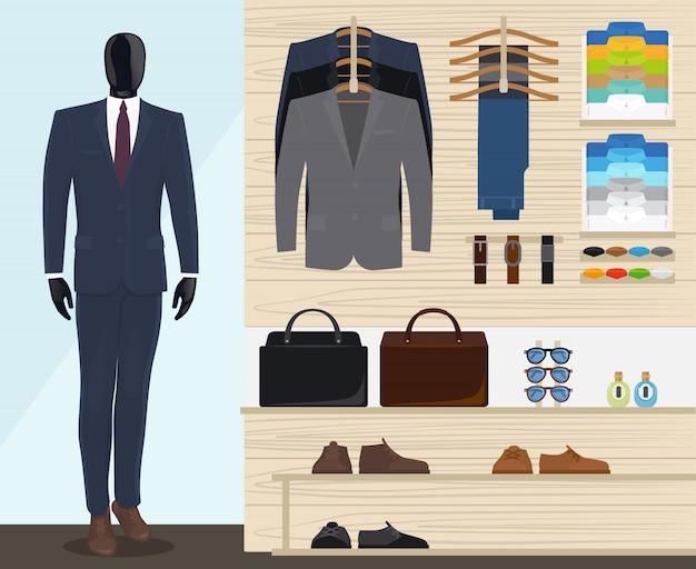 Ilustração em vetor loja de roupas de homem