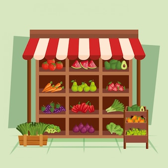 Ilustração em vetor loja frutas e legumes