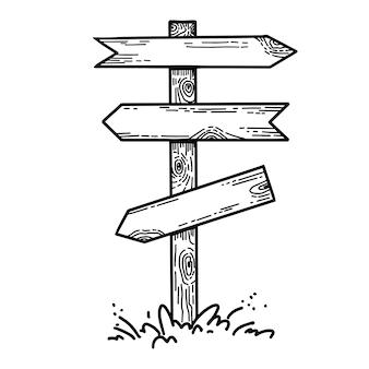 Ilustração em vetor madeira madeira sinalização de direção