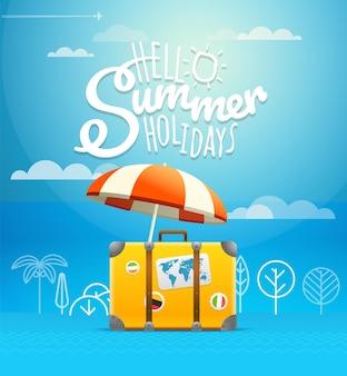 Ilustração em vetor mala de viagem. conceito de férias