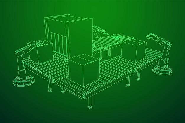 Ilustração em vetor malha de poliéster de braço robótico de montagem de indústria mecânica mão wireframe