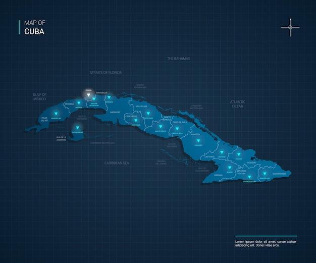 Ilustração em vetor mapa de cuba com pontos de luz de néon azul
