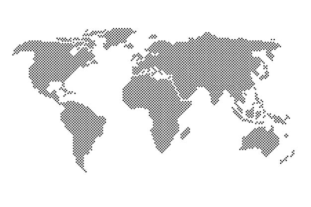 Ilustração em vetor mapa mundo pontilhada