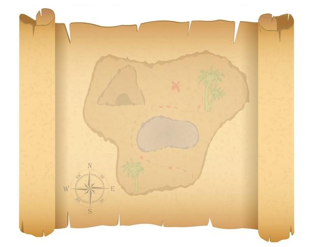 Ilustração em vetor mapa tesouro pirata