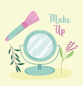 Ilustração em vetor maquiagem cosméticos moda beleza espelho escova