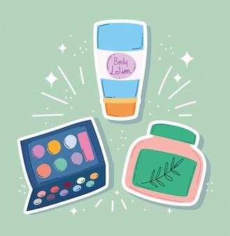 Ilustração em vetor maquiagem cosméticos produto moda beleza loção corpo sombra paleta de sombra