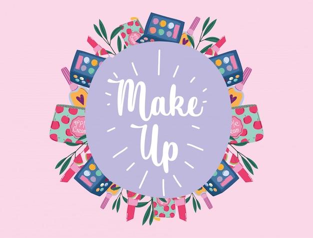 Ilustração em vetor maquiagem cosméticos produtos moda beleza letras rótulo