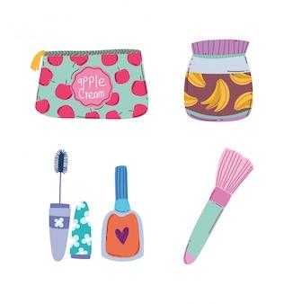 Ilustração em vetor maquiagem produto moda beleza bolsa cosmética esmalte escova rímel e creme