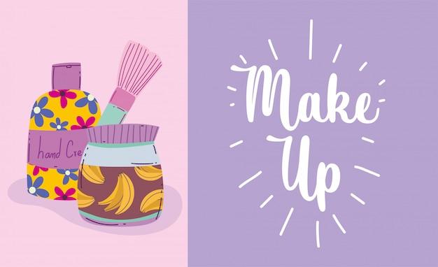 Ilustração em vetor maquiagem produto moda beleza escova loção corporal cuidados com a pele produtos