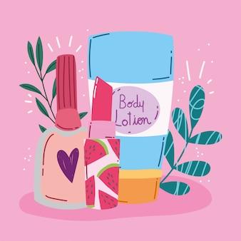 Ilustração em vetor maquiagem produto moda beleza loção corporal batom e esmaltes de unha