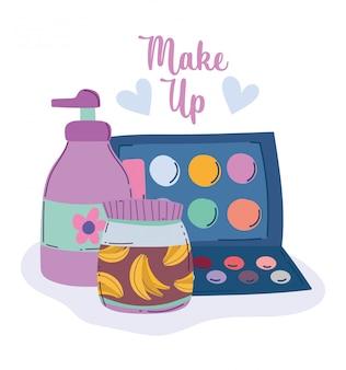 Ilustração em vetor maquiagem produto moda beleza sombra paleta dispensador creme e produtos para cuidados com a pele