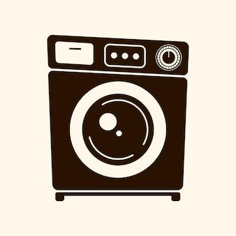 Ilustração em vetor máquina de lavar roupa retrô sobre fundo claro. logotipo