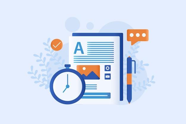 Ilustração em vetor marketing conteúdo plana
