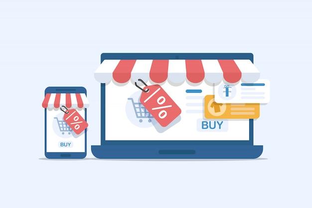 Ilustração em vetor marketing on-line. processo de negócios na internet, mobile marketing, e-marketing, e-comerce