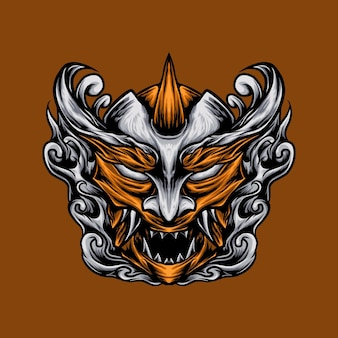 Ilustração em vetor máscara do diabo japonês