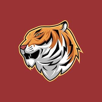 Ilustração em vetor mascote assustador cabeça dos desenhos animados de tigre