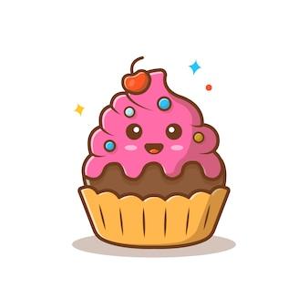 Ilustração em vetor mascote bolo bonito.