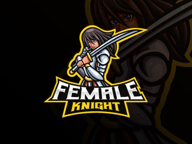 Ilustração em vetor mascote cavaleiro feminino
