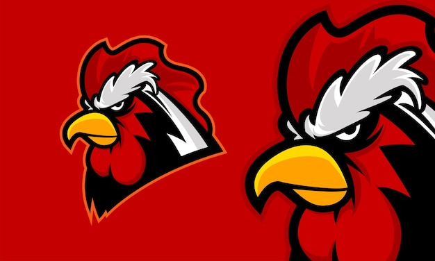 Ilustração em vetor mascote com logotipo premium de cabeça de galo zangado