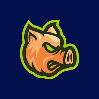Ilustração em vetor mascote de cabeça de porco com raiva