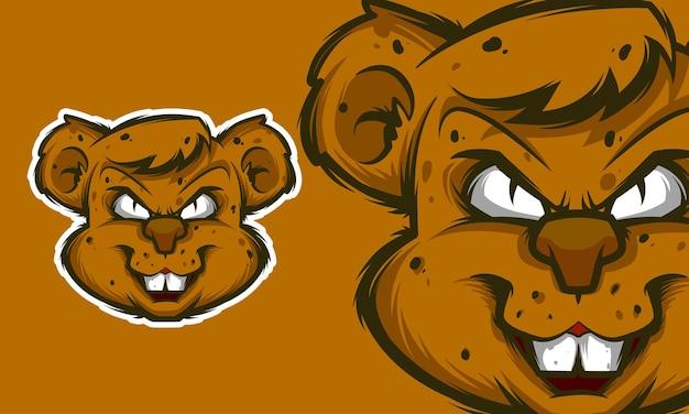 Ilustração em vetor mascote de rato com raiva