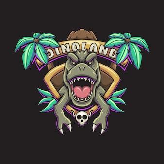 Ilustração em vetor mascote dinoland