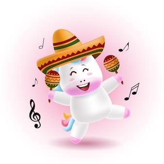 Ilustração em vetor mascote dos desenhos animados - lindo unicórnio dançando e segurando maracas