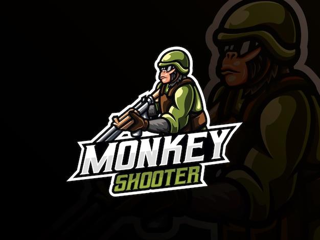 Ilustração em vetor mascote guerreiro macaco
