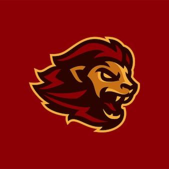 Ilustração em vetor mascote leão esports logotipo