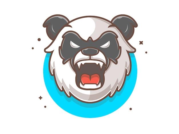 Ilustração em vetor mascote panda bravo