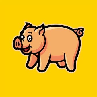 Ilustração em vetor mascote porco esports logotipo