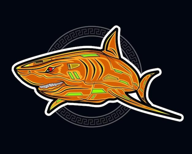 Ilustração em vetor mascote tubarão dos desenhos animados