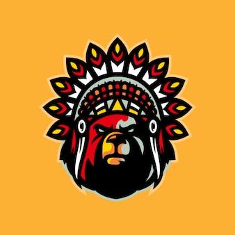 Ilustração em vetor mascote urso indiano esports logotipo
