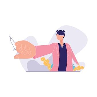 Ilustração em vetor médico mão segurando a vacina