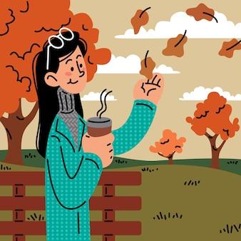 Ilustração em vetor menina sentada em um parque com folhas de outono caindo