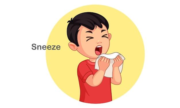 Ilustração em vetor menino fofo espirrando