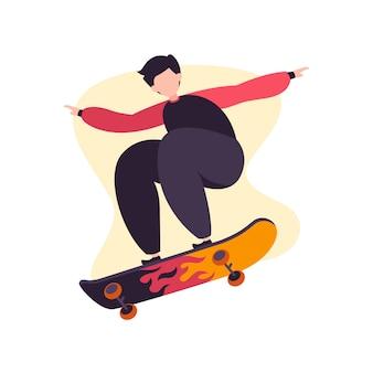 Ilustração em vetor menino skatista