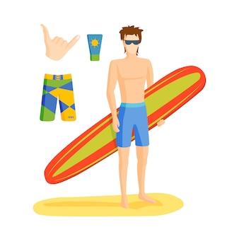 Ilustração em vetor menino surf