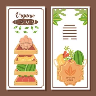 Ilustração em vetor mercado de alimentos orgânicos brocure frutas e vegetais frescos