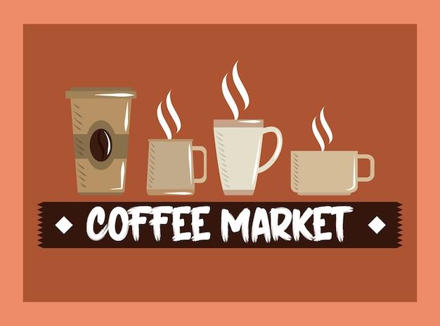 Ilustração em vetor mercado de café, copo descartável e copos de cerâmica de bebida quente