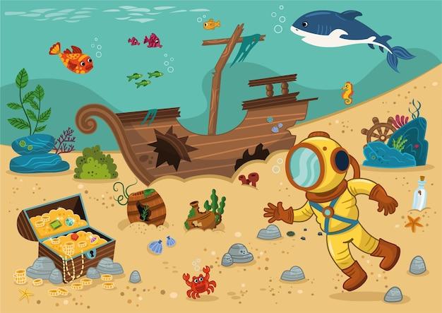 Ilustração em vetor mergulhador e baú de tesouro