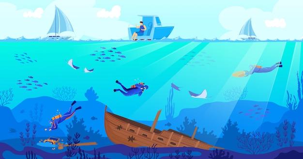 Ilustração em vetor mergulho naufrágio.