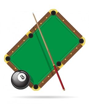 Ilustração em vetor mesa de bilhar bilhar