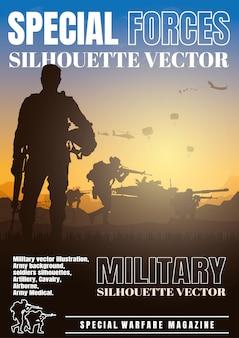 Ilustração em vetor militar, fundo do exército, design da capa do livro.