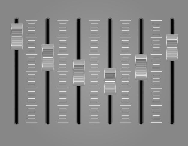 Ilustração em vetor mixer console painel de som