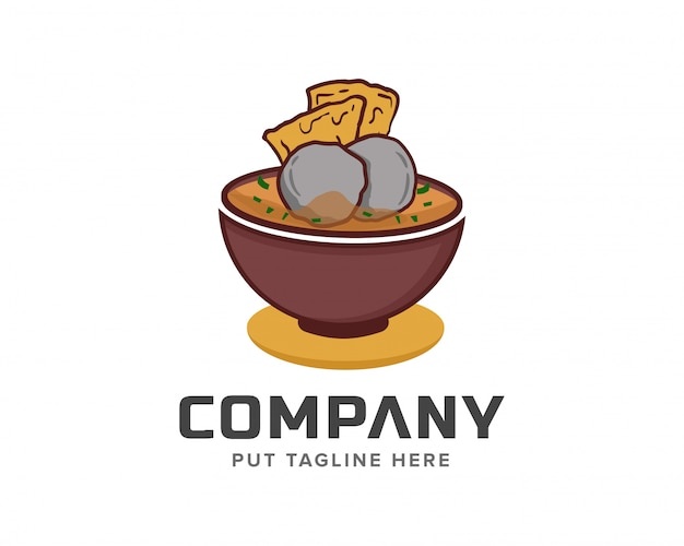 Ilustração em vetor modelo almôndega bakso chef logotipo