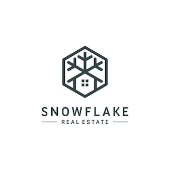 Ilustração em vetor modelo casa logo floco de neve