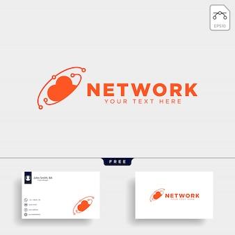 Ilustração em vetor modelo conexão nuvem logotipo