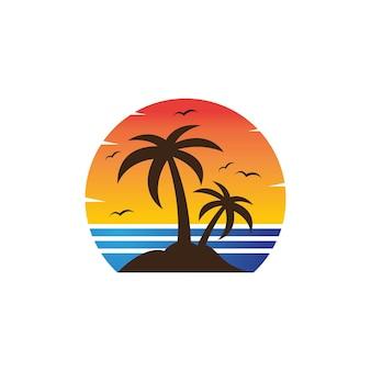 Ilustração em vetor modelo de logotipo de verão palmeira
