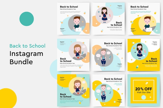 Ilustração em vetor modelo de postagens no instagram de volta às aulas